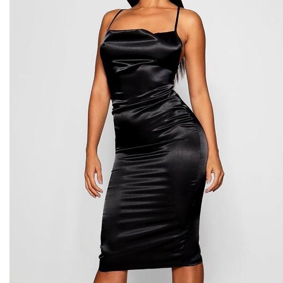 b4e1e4a068 Black Cowl Front Satin Midi Dress